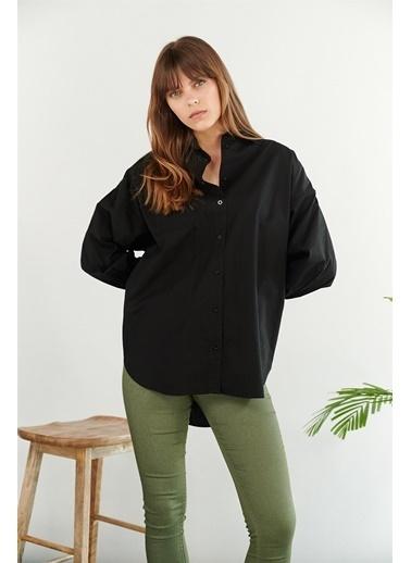 Levure Uzun Oversize Tunik Gömlek Siyah